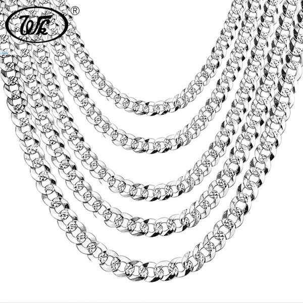 "WK 100% 925 Sterling Silver Mens Silver Chain Necklace Men Hip Hop Rapper Curb Cuban Link Chain Male 4MM 5MM 6MM 20 22 26"" NM005 Y18102910"