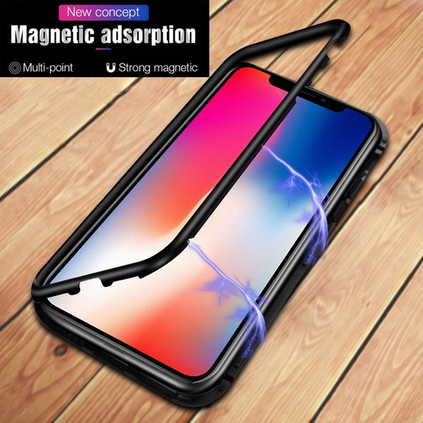 Ultra Magnetic x xs max Adsorption Phone Case Luxury Metal Back Glass Cover Flip Case For iPhone X8766S S Plus with retail box