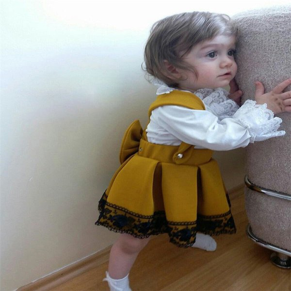 Sweet  Royal Kid Baby Girls Lace Bodysuit Long Sleeve Jumpsuit Tops ++ Yellow Overall Skirts Party Bow Skirt Dress Sets