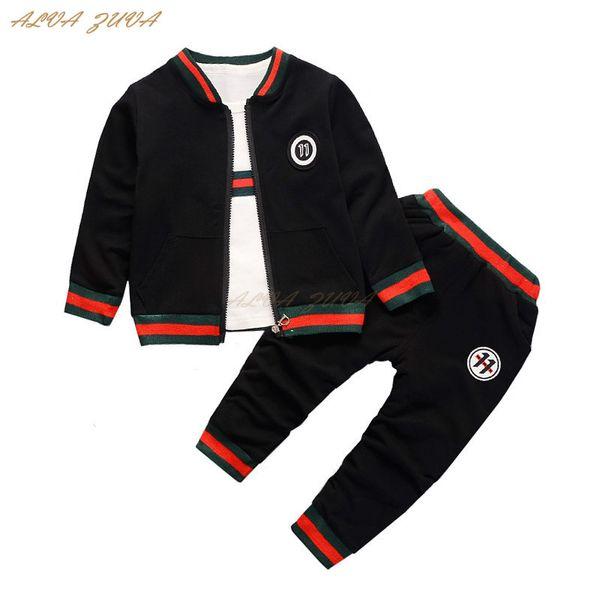 Schlussverkauf ! 2018 Kinder Kinder Trainingsanzug Mode Kleidung Baby Jungen Mantel T-Shirt Hosen 3 Stücke Anzug Bebes Kleidung Sets Cyy268 Y18102408