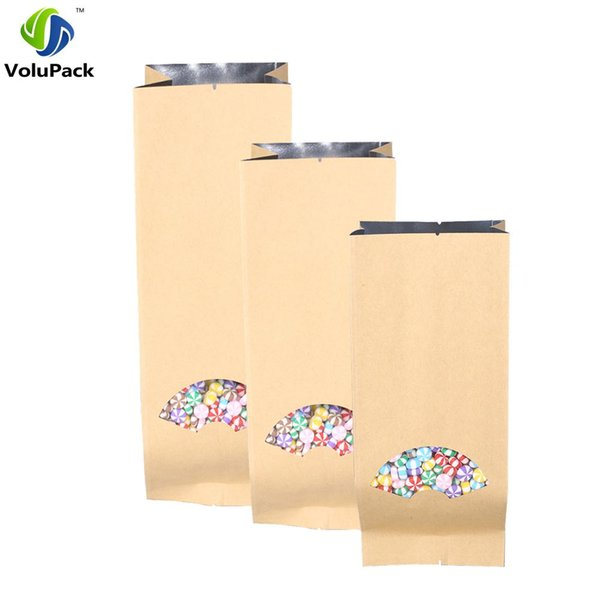 Many Sizes 15 Wire Thickness 100pcs Tear Notches Flat Brown Kraft Paper Bag Open Top Side Gussets Package Bags with Clear Window