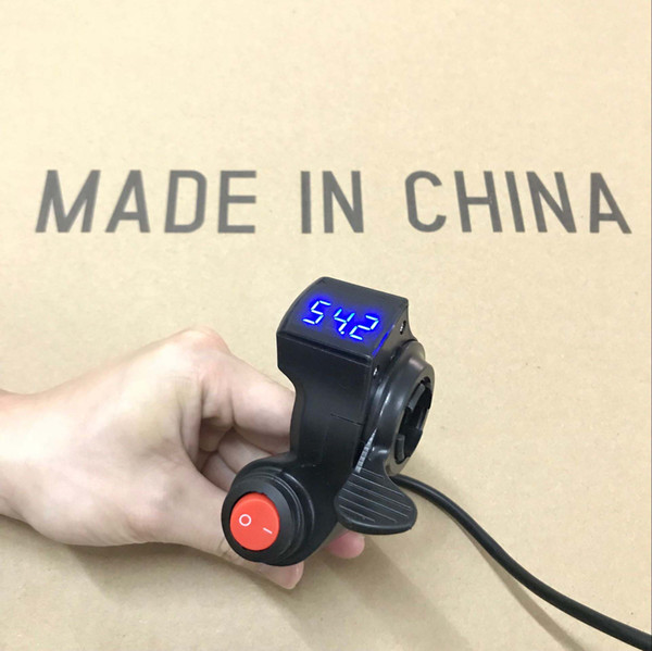 12V-99V Scooter thumb throttle EBike Thumb Throttle with Power switch LCD Digital Battery Voltage Display for electric bike e Scooter