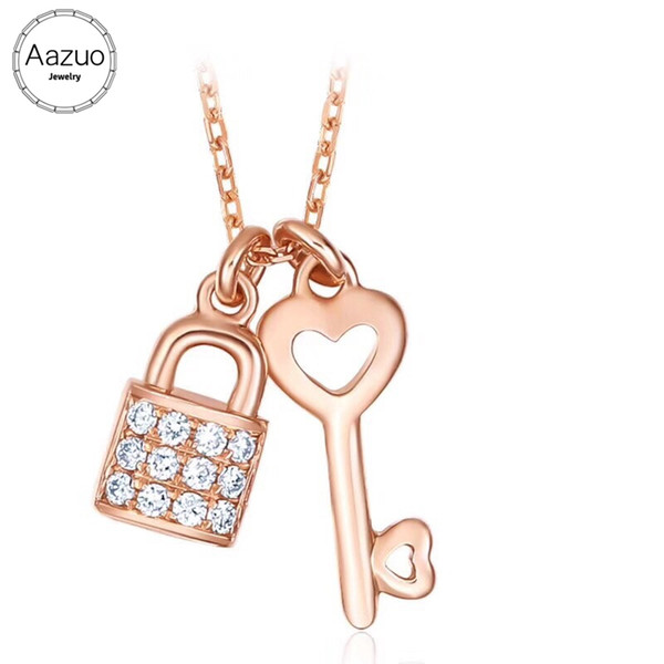 Aazuo 18K Rose Gold Real Diamond Lovely Heart Key Lock Free Pendent Necklace gifted for Women Engagement Wedding Link Chain 45cm