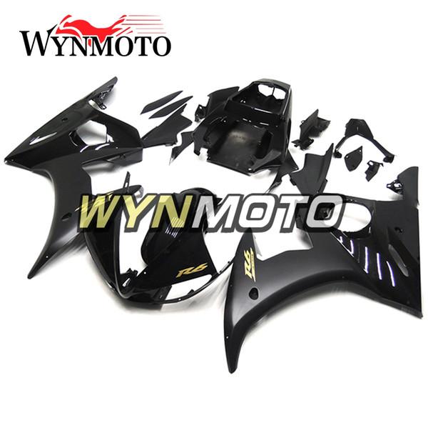 Glossy Black Body Kits Motocicleta 2003-2004 R6 Inyección completa Carenado para Yamaha YZF600 R6 YZF-600 R6 / R6S '06 -09 2003 2004 ABS Bodywork