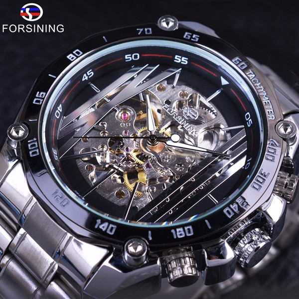 Forsining Military Sport Design Transparent Skeleton Dial Silver Stainless Steel Mens Watches Top Brand Luxury Automatic Watches D18100706