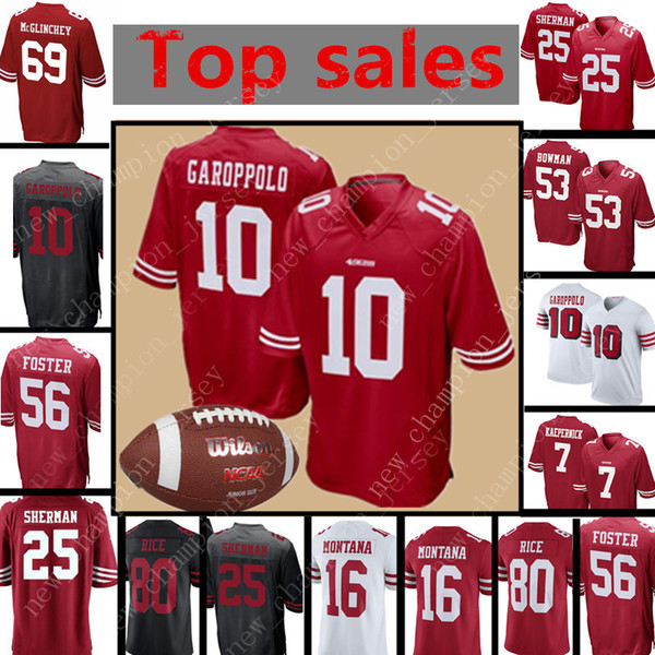 new concept ea7b2 e0280 2018 Mens San Francisco 49ers Jersey 10 jimmy Garoppolo 25 Richard Sherman  7 Colin Kaepernick 56 Reuben Foster 16 Joe Montana 53 Bowman Jerseys From  ...