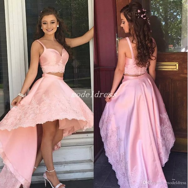 2018 Pink High Low Cocktail Party Dresses Dos piezas Spaghetti Backless Appliques Formal Prom Party Gowns Homecoming Dress abiti da balloon
