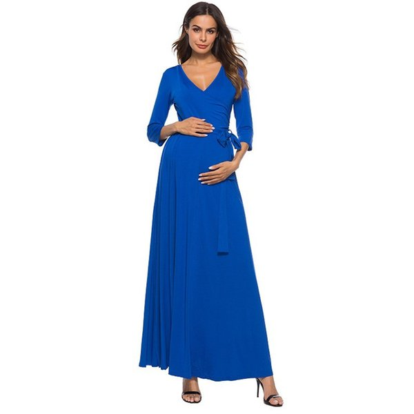 New Summer Europe America Women's V-neck Cropped Sleeve Ankle-Length Solid Lace-Up Dress Pregnant Women's Natural Belt Maternity Dresses
