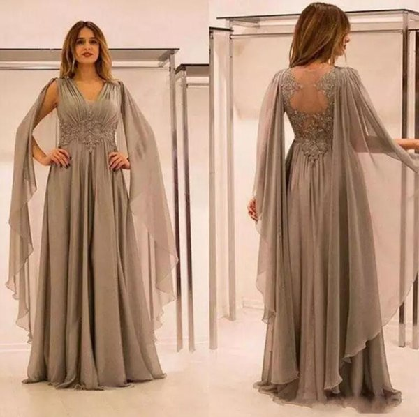 2018 elegante gasa ilusión espalda madre de los vestidos de novia con apliques de encaje acanalado cuello en V vestido de novio de la madre vestidos de noche