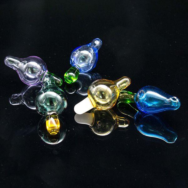 UFO Carb Cap mit Miniloch blau grün gefärbt Für Flat Top Banger Nails Glasbong, die auch Carb Caps mit Terp-Perle verkaufen