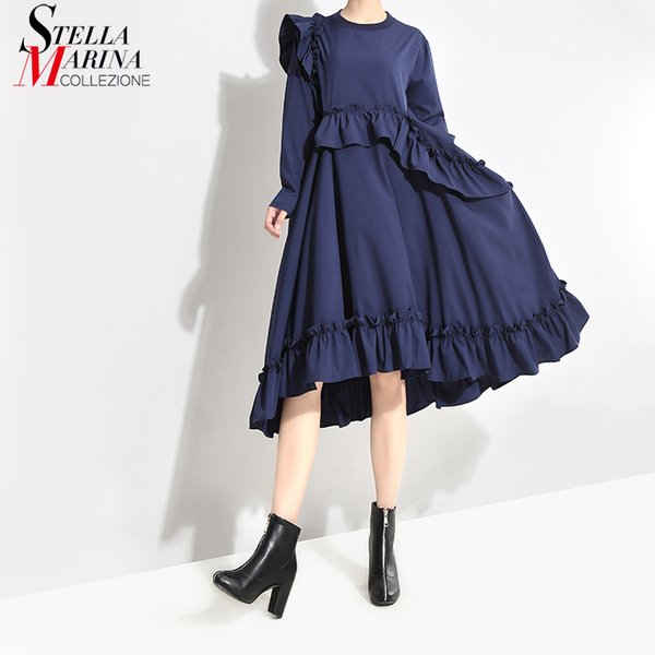 360887460b New 2018 Korean Style Womens Solid Blue Loose Midi Dress Ruffles Long  Sleeve O Neck Female Charming Party Club Wear Dress 3918 Sexy Dresses  Vintage ...