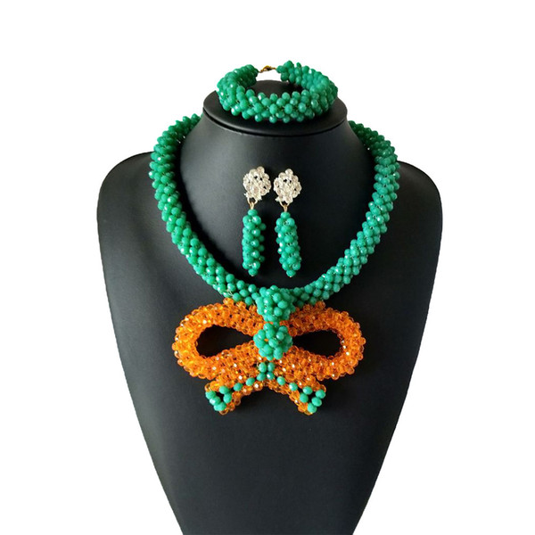 New listing Orange Green Women Wedding Jewelry Sets African Coral Beads Jewelry Set African Beads Jewelry Sets Nigerian Bridal Necklace