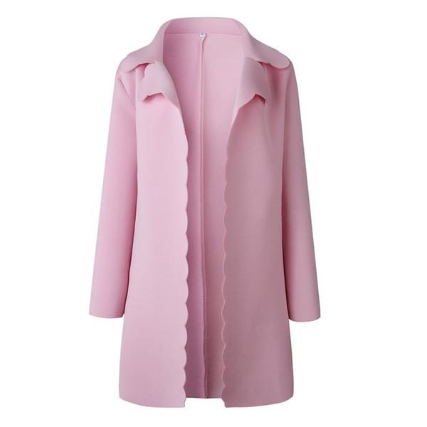Großhandel Mantel Frauen Kaschmir 2018 Herbst Winter Damen Strickjacke Mantel Langarm Sweatshirt Rosa Farbe Jacke Damen Casual Outwear Von Meinuo003,