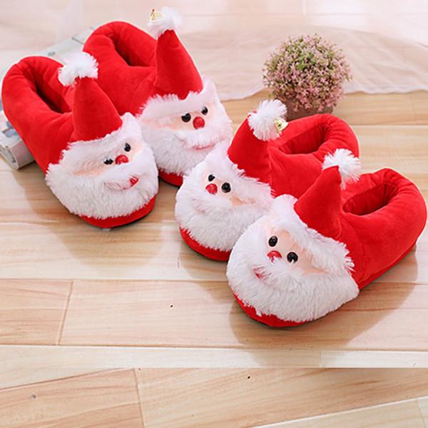 Mignon Père Noël Pantoufles Enfants Adulte En Peluche Pantoufle Hiver Chaussures De Sol Intérieur Non Slip Cadeau De Noël 23ww C