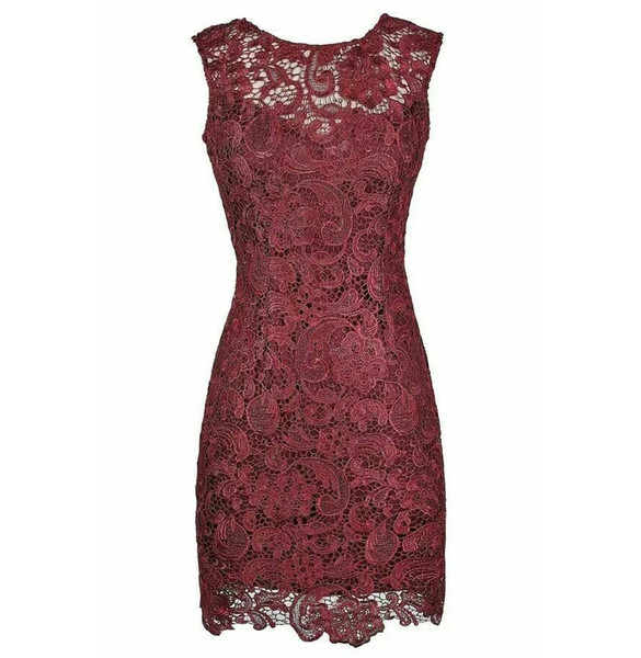Wine Lace Sheath Knee Length Mother of the Bride Dresses with Lace for Wedding Party Mother of the groom Dresses
