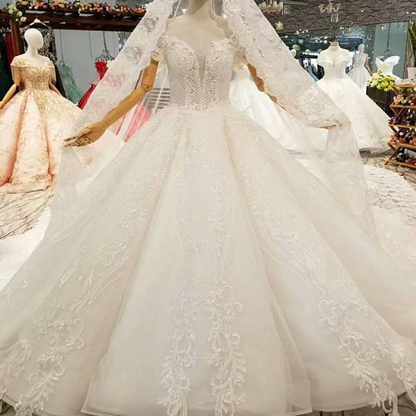 Fildişi Balo Gelinlik Artı Boyutu Omuz Kapalı Olabilir Sevgiliye Kat Uzunluk Gelinlik Düğün Aplike Uzun Peçe Ile