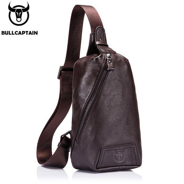 BULLCAPTAIN New Arrival Men Crossbody Chest Bag Leisure Genuine Leather Men Travel Shoulder Bag High Quality Cowhide Chest pack