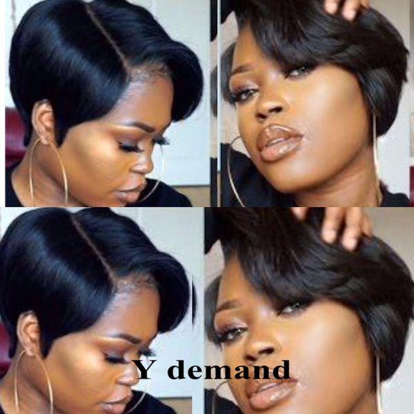 Moda Rihanna Legal Curto Penteado Perucas Bestseller Peruca Preto Em Linha Reta Celebridade Penteado Estilo Charme Sintético Barato Peruca de Cabelo Y demanda
