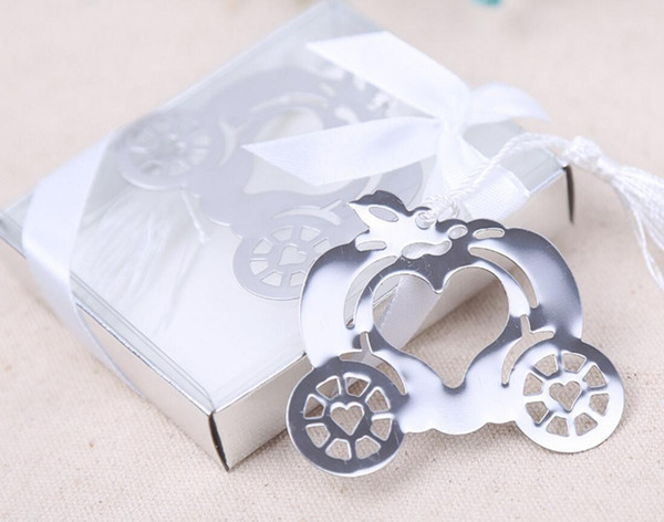 20pcs Silver Stainless Steel Pumpkin Carriage Bookmark For Wedding Baby Shower Party Birthday Favor Gift Souvenirs