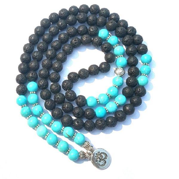New Design 8mm Natural Black Vocanic Rocks Stone Orchid Pine Lava Rock 108 Mala Long Bracelet or Necklace with OM Pendant Yoga