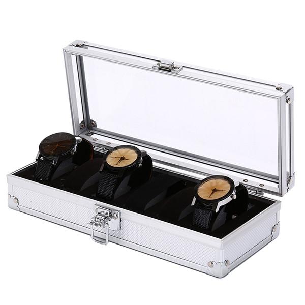 6/13 grade de alumínio caixa de relógio caixa de exibição de armazenamento de coleta de jóias organizador de relógio de pulso de alta qualidade