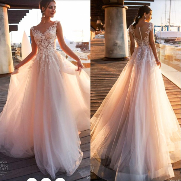 2019 new beach country lace applique a line wedding dre e heer coop neck tulle covered button tulle long bridal wedding gown ba9808