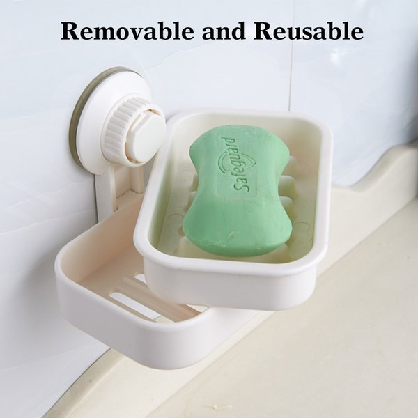 DHL Free Ship White ventosas de succión baño ducha plato de almacenamiento caja de jabón Organizador de almacenamiento en rack para ducha baño cocina