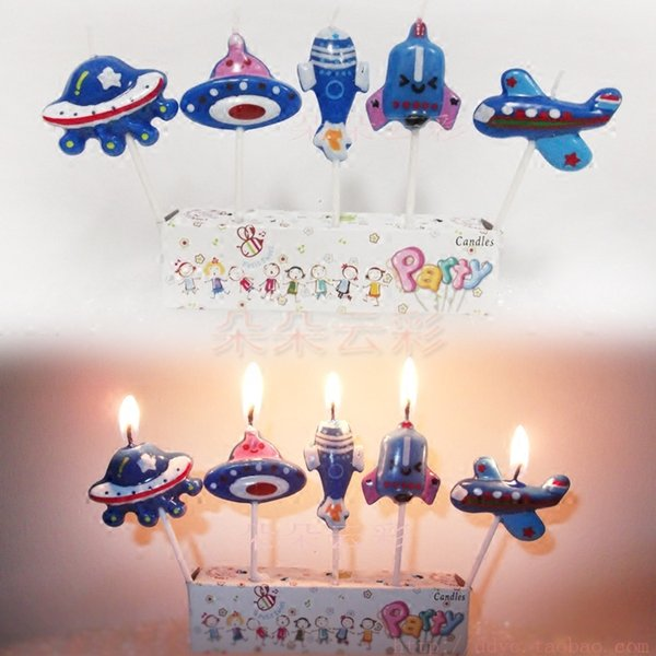 (5 pack) boxed airplane candle UFO aircraft spacecraft rocket cartoon boy cake UFO