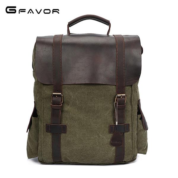 G-FAVOR Crazy Horse LeatherCanvas Umhängetasche Männer Haspe 15 Zoll Laptop Rucksack Vintage Reisetasche Computer Taschen