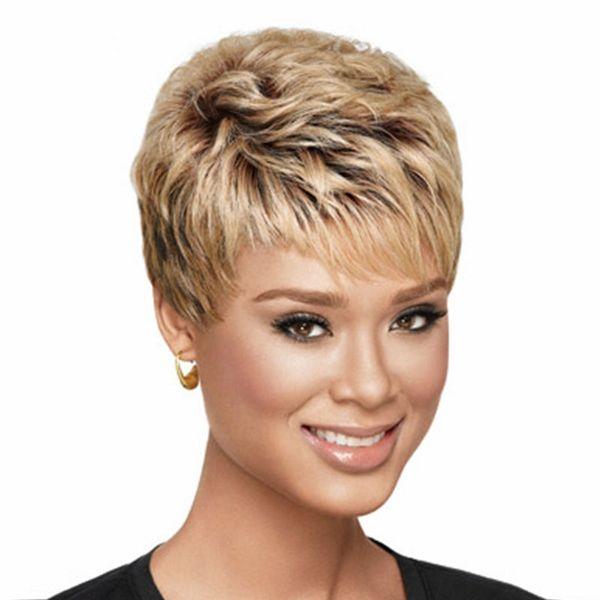8 Zoll heiße Verkaufshaar lockige Produkte schönes Mädchen schnitt kurze Pixieperücken für Frauenart synthetische blonde Haarperücke mit Knallen ab