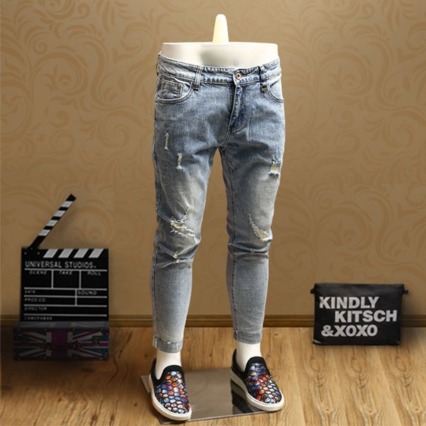 Summer new men's youth tide models personality white casual European station nine points jeans