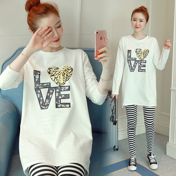 Make maternity clothes in the spring and autumn period and the new long sleeve shirt long T-shirt