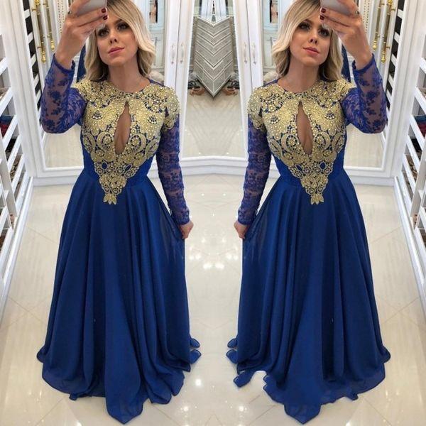 Schöne Royal Blue Long Sleeve Prom Kleider Chiffon Spitze Perlen Middle East Appliques Perlen Formal Prom Kleider Robe De Bal Abendkleider