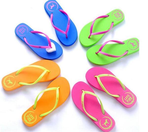 100pcs 5 Colors Girls Pink Flip Flops Love Pink Sandals Pink Letter Beach Slippers Shoes Summer Soft Beach Slipper Y152