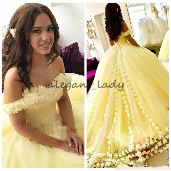 Yellow Ball Gown Quinceanera Dresses With 3D Flowers Sweet 16 Dresses Off  The Shoulder Plus Size Princess Masquerade Prom Gowns Lace Up Back Pretty