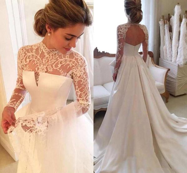 Fashion Lace Lang Sleeve Wedding Dresses A Line Jewel Chapel Train Satin Ivory Wedding Gowns Bridal Dresses Custom Made Brautkleider Online