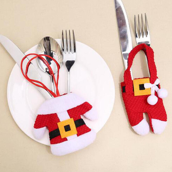 New Santa Suit Father Christmas Costume Cutlery Tableware Holder Fork Spoon Knife Bag Cover Decor Suit Cover Table Decorations