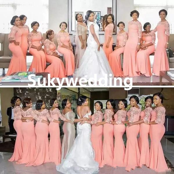 Großhandel 2018 New Arabisch African Brautjungfer Kleider Coral ...