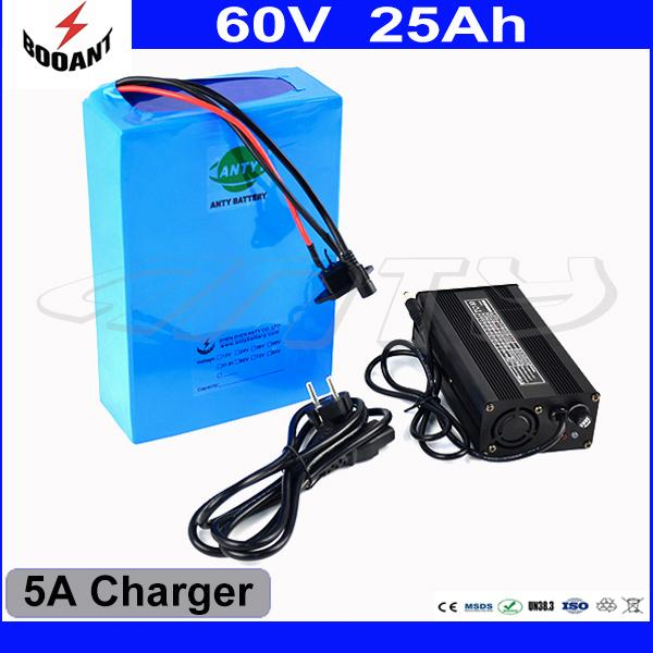 High Capacity 25Ah 60V E-Bike Battery With 5A Charger For 2000W Motor Power Lithium Electric Bicycle Battery 60V Free Shipping