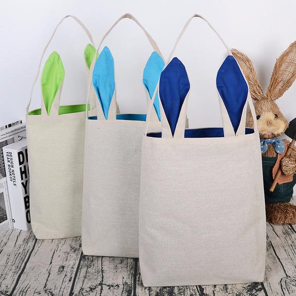 Bolso de compras de algodón simple creativo Bolso de regalo de caramelo de Pascua Bolso de hombro decorativo hecho a mano de algodón personalizado de orejas de conejo DIY