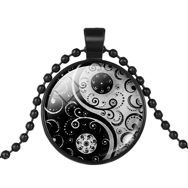 Fashion Unisex 1pcs Black Color Chain Black White Ching Bagua Tai Chi Ying Yang Best Friend Pendant Collar Necklace Jewelry 2017