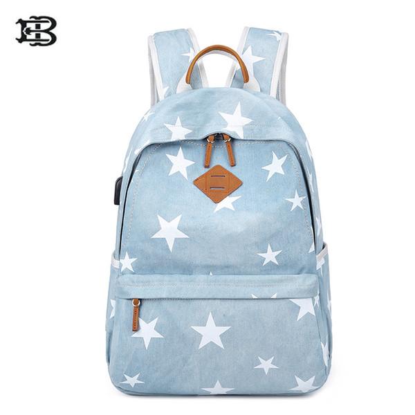 Mochila USB Carregamento USB Externo com Laptop de 14 Polegada Notbackpack para Meninas Adolescentes Lona sólida mochila escolar mochila