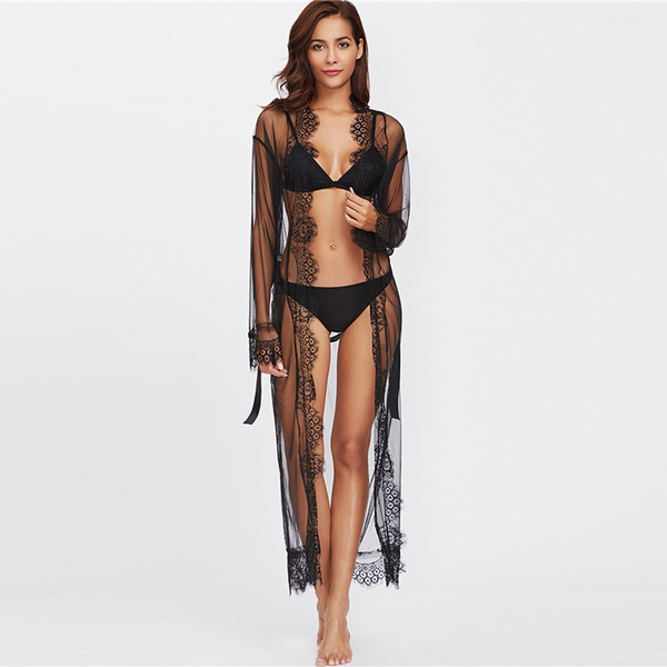 86 Eyelash Lace Trim Plus Size Mesh Robe With Belt Black Long Sleeve Ankle-length Kimono Blouse Women Sexy Sleepwear