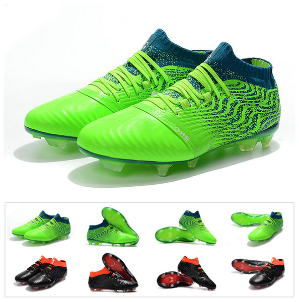 2018 New KUN Sergio Aguero One Leather 18.1 Synthetic Syn FG Griezmann High top Mens Soccer Football Shoes Boots Cleats Size 39-45
