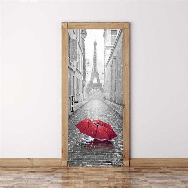 2017 New 3D Door Stickers 2PCS/Lot Bedroom Wall Stickers Paris Eiffel Tower Waterproof Moisture Self-adhesive Door Stickers