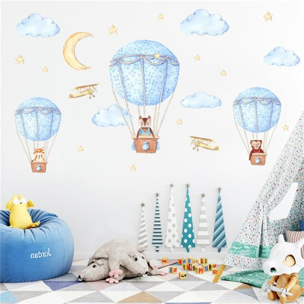 New Arrive DIY Wall Stickers for Kids Room 1Set Wall Decal Home Bedroom Sticker Mural Art Decor Stickers Cat Fox Hot Air Balloon