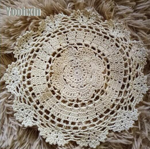 Handmade Round lace coon table place mat pad Cloth crochet placemat cup mug wedding glass coaster dining party doily kitchen