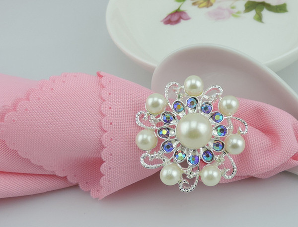 hot sell New flower Imitation pearls gold silver Napkin Rings for wedding dinner,showers,holidays,Table Decoration Accessories wn541