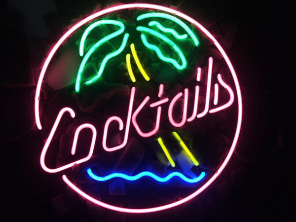 """17""""x14"""" Cocktail Coconut Real Glass Neon Sign Beer Sports Bar Light Store Decor"""