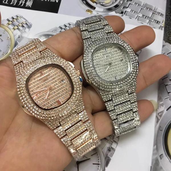 mirada detallada 85532 21397 Compre Relogio Masculino Lujo Diamante Para Hombre Reloj De Oro Vestido  Reloj De Pulsera Diales Azules Relojes Mecánicos Precios Caja Barata Reloj  ...